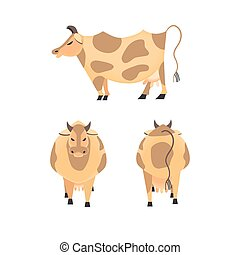 Domestic Animal icon set. Dairy cattle sign. Freehand drawn...