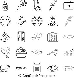 Domestic animal icons set, outline style