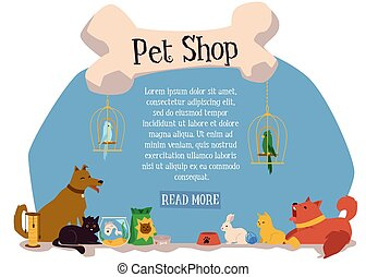 Domestic animals characters in pet shop banner template flat vector illustration.