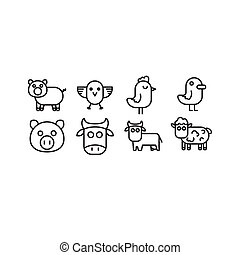 Domestic animals cow, pig, bull, sheep and bird chicken, chicken, rooster, duck