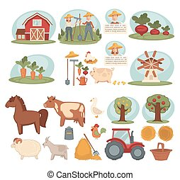 Domestic animals, organic vegetables and young workers from farm
