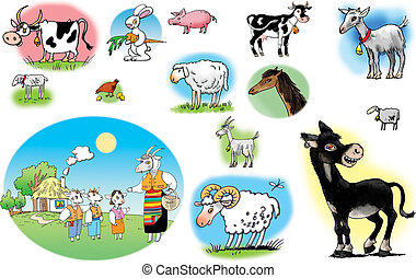 Domestic animals - Raster illustrations of different ...