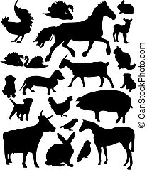 Domestic animals - Set of vector illustrated domestic ...