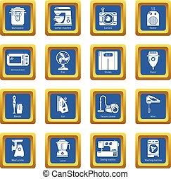 Domestic appliances icons set blue square vector