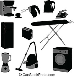 Domestic appliances set - vector