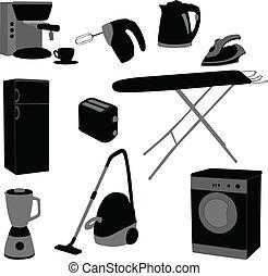 Domestic appliances set - vector