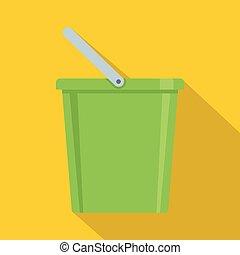Domestic bucket icon, flat style