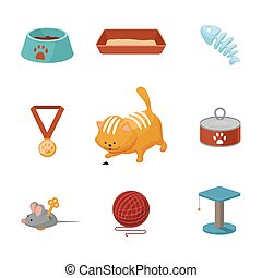 Domestic cat cartoon icons vector set