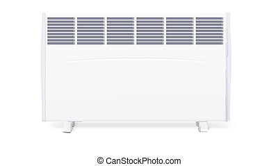 Domestic electric heater, icon of home convector, 3D illustration. Electric panel of radiator appliance for space heating isolated on white background