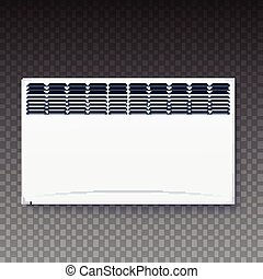 Domestic electric heater, icon of home convector, electric panel of radiator appliance for space heating isolated on transparent background