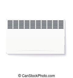 Domestic electric heater, icon of home convector, electric panel of radiator appliance for space heating isolated on white wall