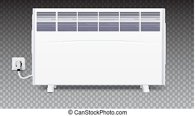 Domestic electric heater with plug and electric cord. Icon of home convector, 3D illustration. Electric panel of radiator appliance for space heating isolated on transparent background