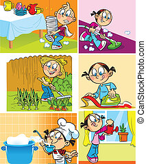 Boy do washing dishes and working in the garden. Little girl perform preparing food, ironed clothes, vacuuming the floor and watering flowers.