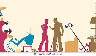 Domestic fight - Colorful foreground silhouette of a couple...