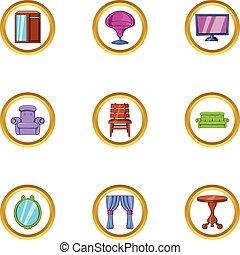 Domestic furniture icon set, cartoon style