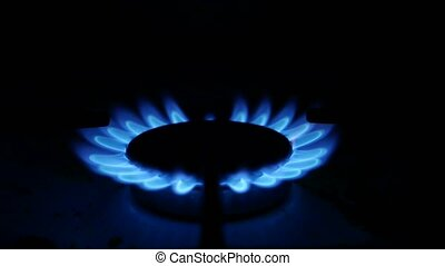 Domestic gas stove is video lit blue gas - Domestic gas...
