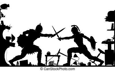 Domestic gladiators silhouette - Editable vector silhouette...