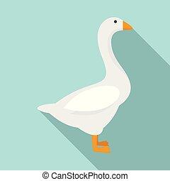 Domestic goose icon, flat style - Domestic goose icon. Flat...