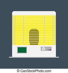 Domestic heater electric appliance vector icon equipment. Radiator climate household temperature interior