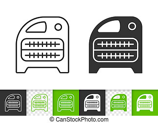 Domestic heater black linear and silhouette icons. Thin line sign of heating air. Hvac outline pictogram isolated on white color transparent background. Vector Icon shape. Heater simple symbol closeup
