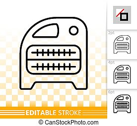 Domestic heater thin line icon. Outline sign of heatingair. Hvac linear pictogram with different stroke width. Simple vector symbol, transparent background. IR heater editable stroke icon without fill