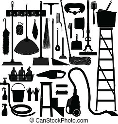 A set of domestic household cleaning and washing equipment.