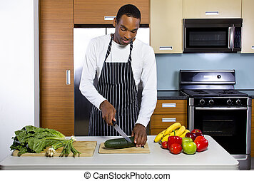 Domestic Husband Learning To Cook - black man learning how...