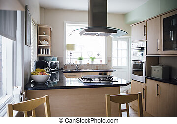 Domestic Kitchen - Horizontal image of an empty domestic...