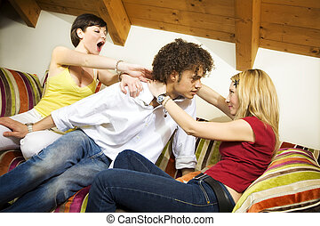 domestic life - two girls struggling for a guy