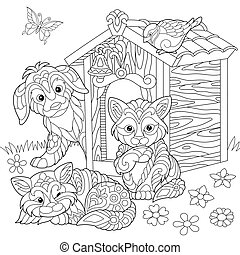 Domestic pets around doghouse - Coloring page of dog, two...