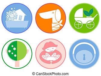 Domestic service - There are six icons on the theme of...