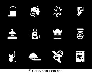 Domestic services white glyph vector icons set