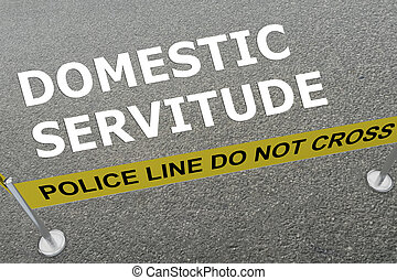 3D illustration of 'DOMESTIC SERVITUDE' title on the ground in a police arena