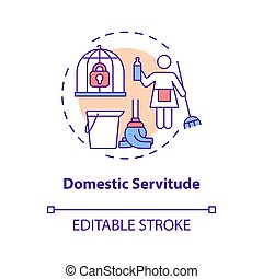 Domestic servitude concept icon. Domestic slavery abstract idea thin line illustration. Forced cleaning service. Work without payment. Vector isolated outline color drawing. Editable stroke