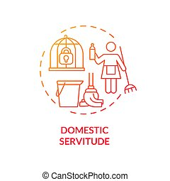 Domestic servitude red concept icon. Domestic slavery and exploitation abstract idea thin line illustration. Low paid migrant workers. Human rights violation. Vector isolated outline color drawing