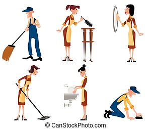 Domestic staff set - Vector illustration of a domestic staff...