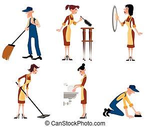 Domestic staff set - Vector illustration of a domestic staff...