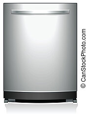 Domestic steel dishwasher detailed vector