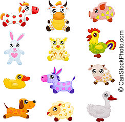 Set of twelve toy animals: a horse, a cow, a pig, a rabbit, a cat, a cock, a duck, a donkey, a goat, a dog, a lamb and a goose.