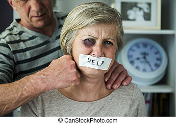 Domestic violance - Portrait of woman victim of domestic...