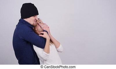 Domestic Violence. A man beats and strangles a woman - A man...