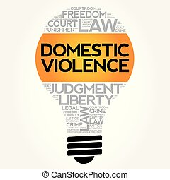 Domestic Violence bulb word cloud collage, concept...