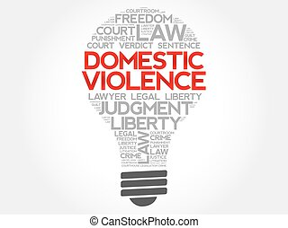 Domestic Violence bulb word cloud concept