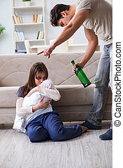 Domestic violence concept with drinking husband man