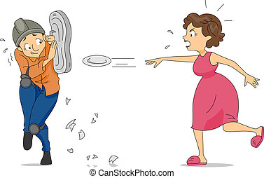 Illustration of a Wife Throwing Plates at Her Husband