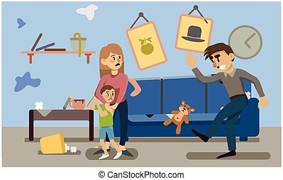 domestic violence. inadequate behaviour. woman and child frightened. a man kicks a toy. vector