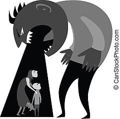 Domestic Violence - Monster man yells at terrified woman and...