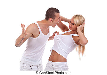 Domestic violence - picture of a man screaming and pulling...