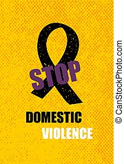 Domestic violence pop art banner on yellow background