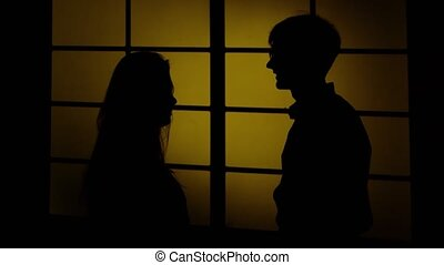 Domestic violence. Silhouette. Close up
